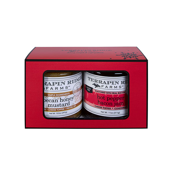 Hot Pepper Bacon Jam and Pecan Honey Mustard in a 2 pack giftbox