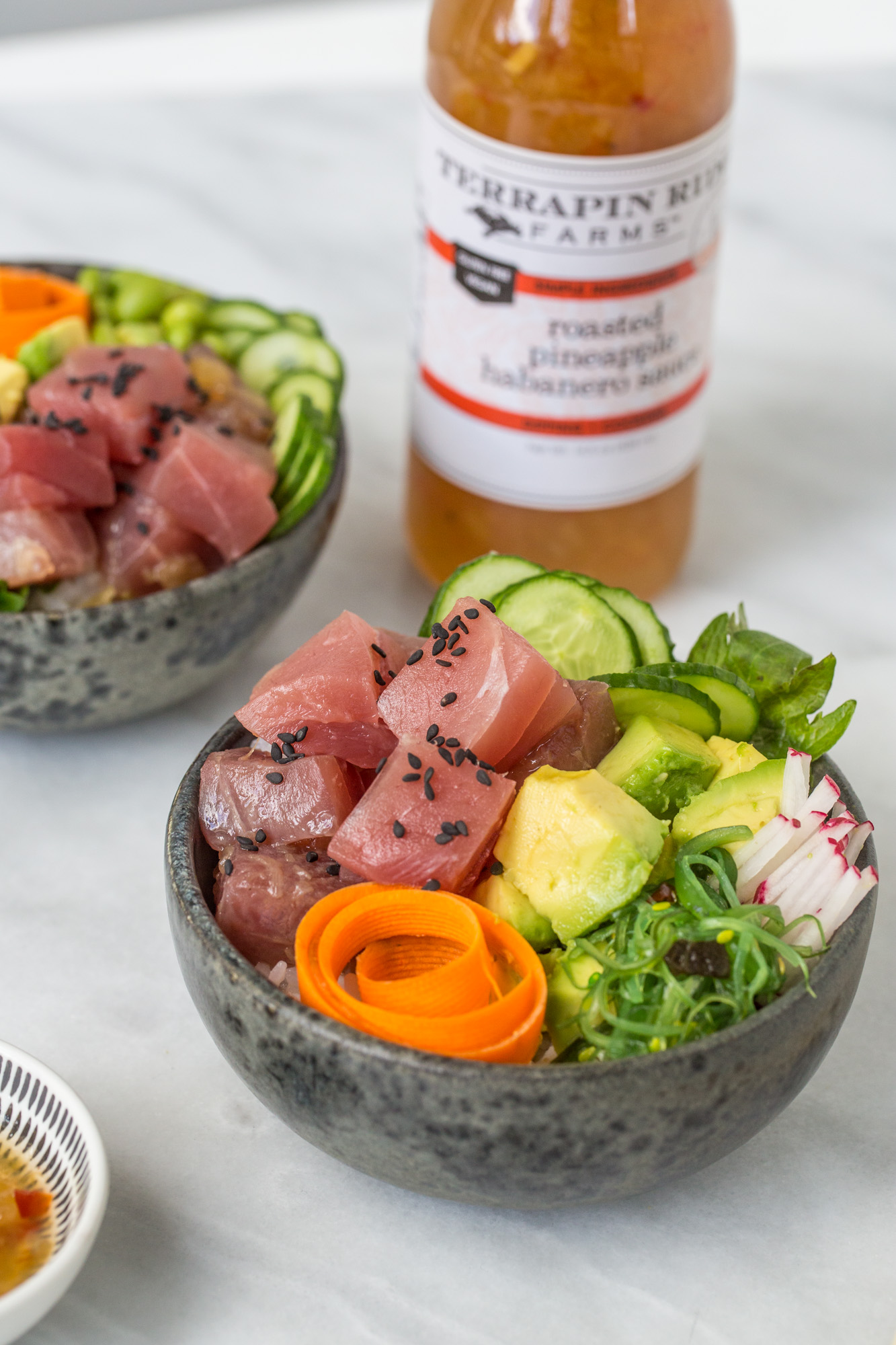 Fresh Poke Bowl with Roasted Pineapple Habanero sauce