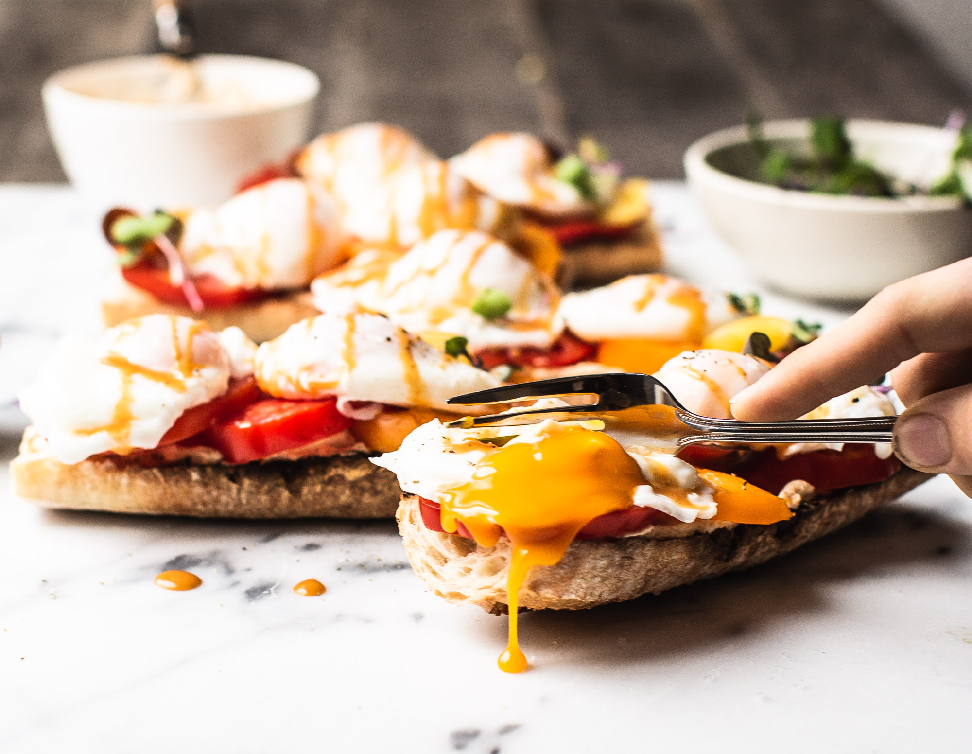 Brunch Baguettes with Spicy Chipotle Poached Eggs
