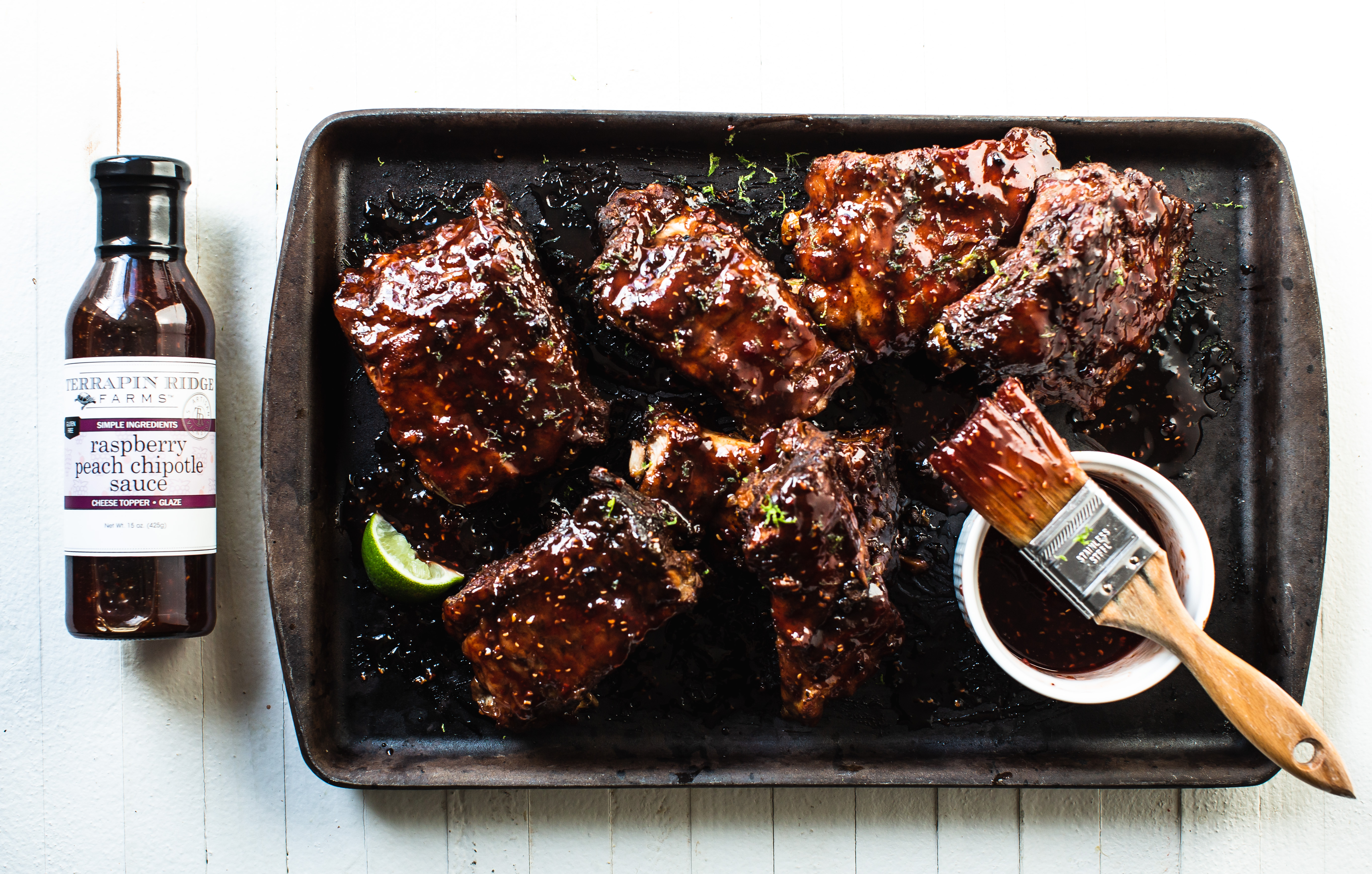 Baby Back Ribs with Raspberry Peach Chipotle Sauce