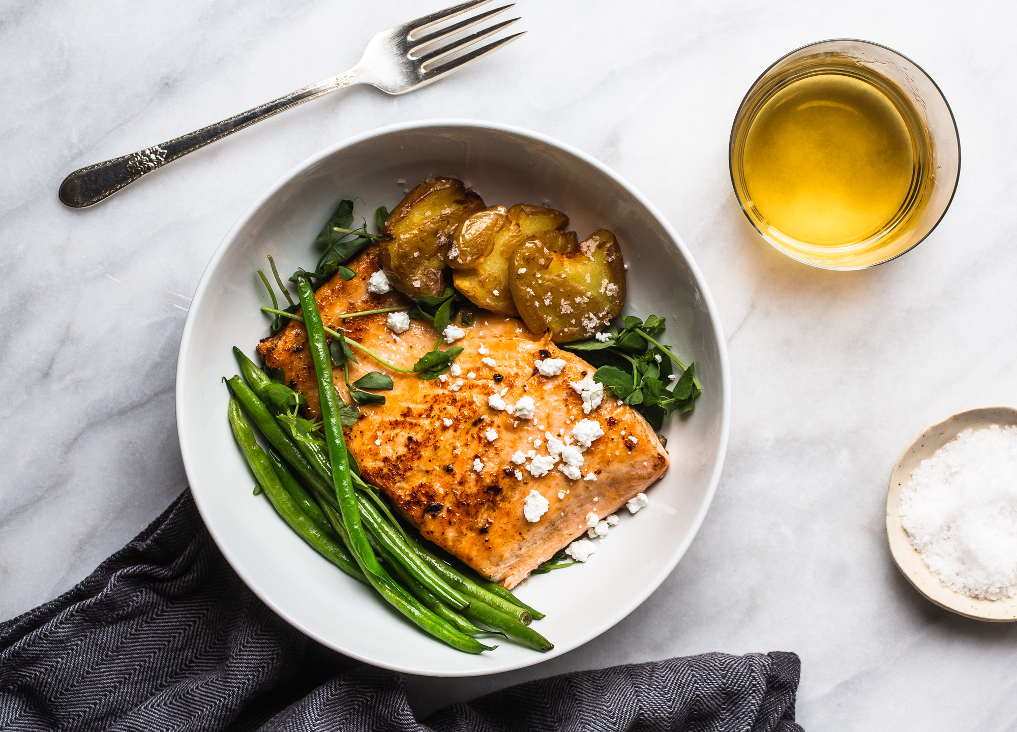 Pan Seared Sriracha Horseradish Salmon and Crispy Smashed Yukon Potatoes