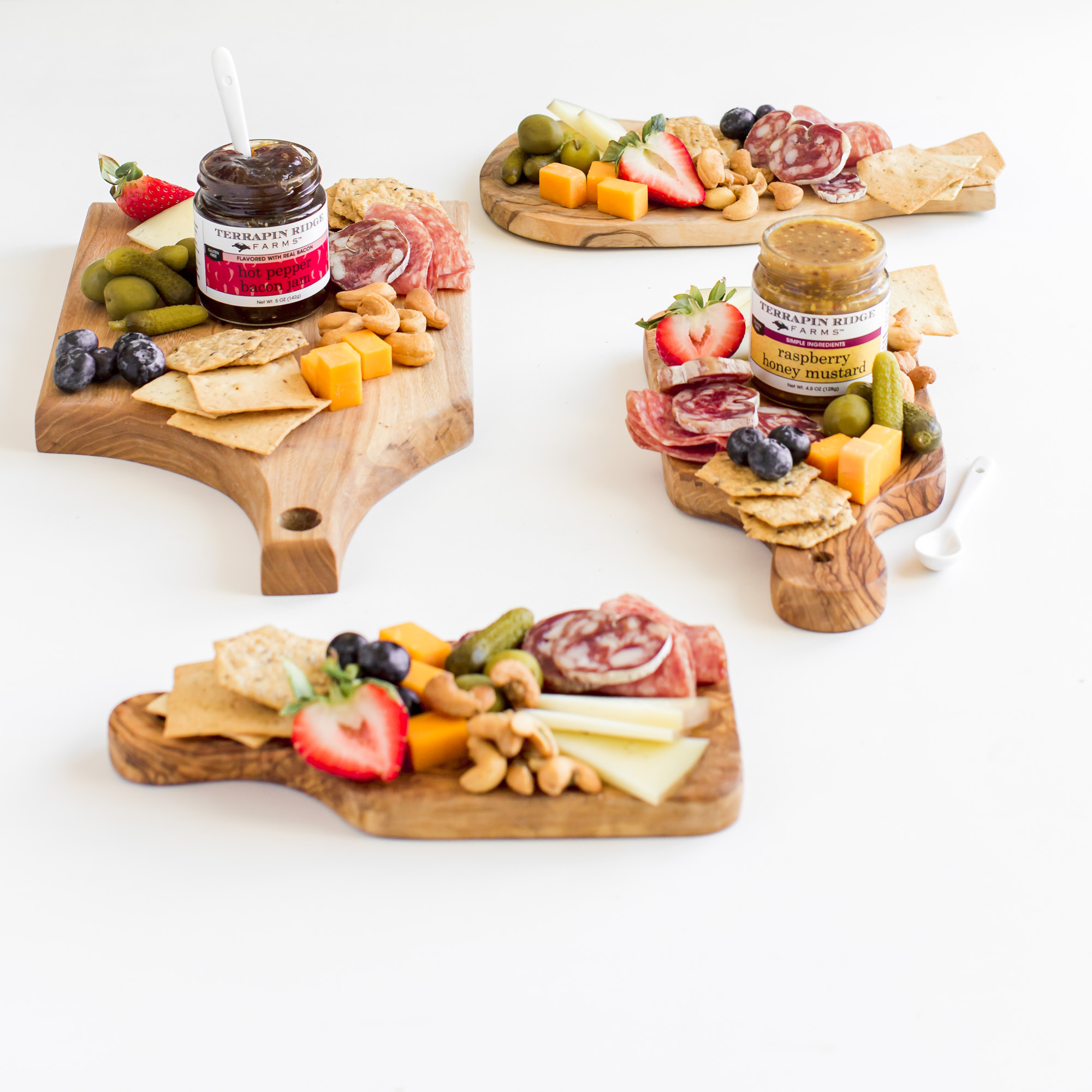 Mini Charcuterie Boards with hot pepper bacon jam and raspberry honey mustard pretzel dip