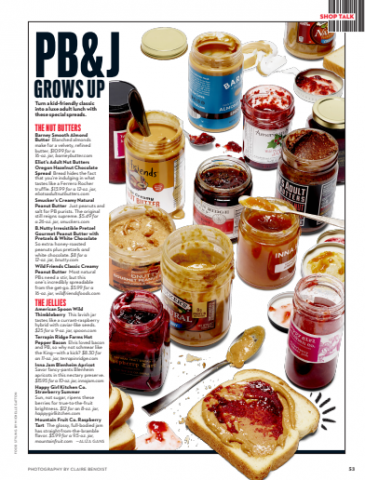Bacon Jam, Rachael Ray Magazine, PB&J, Peanut Butter Jelly, Adult Snacks, Gourmet Peanut Butter, Gourmet Jam, Gourmet Jellie, Jams, Jellies. Jelly, Peanut Butter